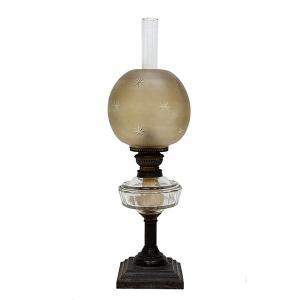 大正ロマン オイルランプ フロストガラス 日本製 アンティーク|antiquesjikoh