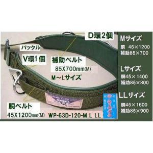 「WP-63D-120-M」幅広タイプ 胴ベルト45×1200mm・補助ベルト85×700mm 林業電気兼用 藤井電工 |anyoujiya-1