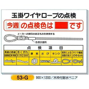 玉掛ワイヤーロープの点検色 表示板 図入り 53-G|anzen-signshop