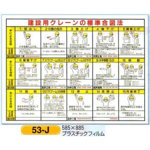 建設用クレーンの標準合図法 表示板(小) 図入り ◎「電話無線等による合図」入り 53-J|anzen-signshop
