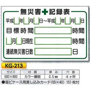 無災害記録表 安全掲示板部品 現場用掲示板パーツ KG-213 500×800mm|anzen-signshop