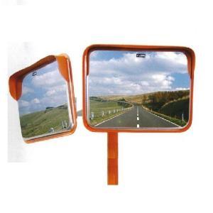 角型カーブミラーステンレス製 2面鏡 195x295mm ポール付き 道路反射鏡 ナック・ケイ・エス|anzen-signshop