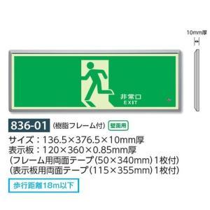 高輝度蓄光式誘導標識 避難口誘導表示標識 壁面用・樹脂フレーム付 836-01|anzen-signshop
