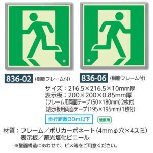 避難口誘導表示標識 高輝度蓄光式誘導標識 壁面用・樹脂フレーム付 836-02 06|anzen-signshop