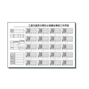 施工体制図 安全標識 「施工体系図 ヨコ,」|anzen-signshop