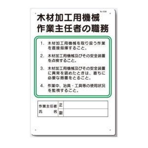 作業主任者の職務板 木材加工用機械  93-B|anzen-signshop