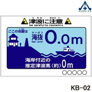 当社オリジナル 海抜看板 KB-02 津波に注意 アルミ複合板 幅910×高さ600mm  平看板 パネル看板 特注看板 anzenkiki