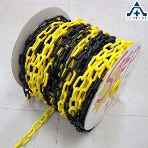 プラスチックチェーン 黄黒トラ (φ6mm×50m)プラチェーン PE 樹脂|anzenkiki