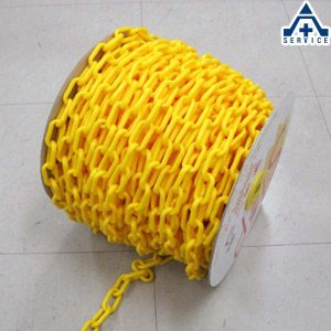 プラスチックチェーン 黄色 (φ6mm×50m)プラチェーン PE 樹脂 イエロー|anzenkiki
