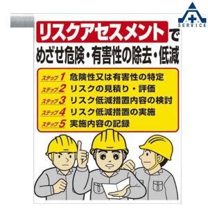 ワンタッチ取付標識 (イラストタイプ)340-36A リスクアセスメントでめざせ危険 有毒性の除去 低減 (600×450mm)ピクトタイプ イラスト付 ピクトエプロン|anzenkiki