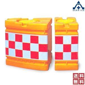 角型 クッションドラム 高輝度反射 A型+B型 取付バンド2本 セット品 (メーカー直送/代引き決済不可)衝突 衝撃 緩衝剤 道路 中央分離帯 セーフティドラム|anzenkiki