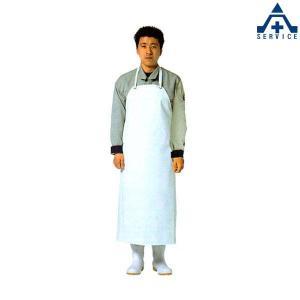 弘進ゴム 炊事胸付前掛 (S M L)ホワイト PVC 耐熱 耐摩擦 耐薬 耐油 抗菌 食品工場 厨房用 エプロン|anzenkiki