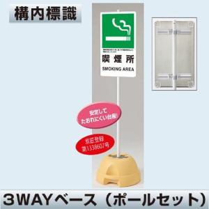 構内標識  アルミ製(ポールセット品) 喫煙所 833-34/834-021|anzenkiki