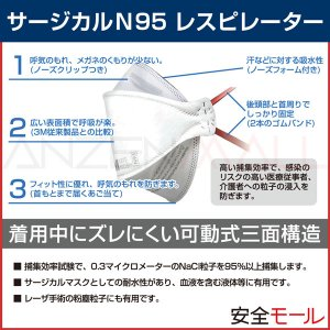 PM2.5対応 マスク 医療用 N95マスク 1870PLUS N95 (20枚入)3M スリーエムN95規格 PM2.5 大気汚染 新型 鳥 豚インフルエンザ・感染対策 防塵(防じん)マスク|anzenmall|03