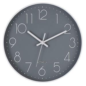 HOMEMOM 掛け時計 おしゃれ 連続秒針 静音 壁掛け時計 部屋 北欧 インテリア 掛時計 見やすい 大数字 玄関 30cm (グレー) …|aobashop