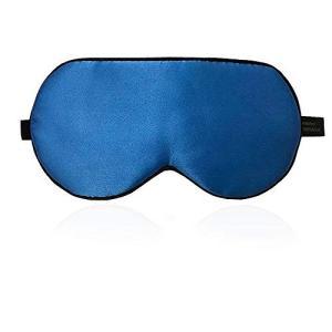 Raruki アイマスク シルク 睡眠 遮光 疲労回復 通気性良い 肌に優しい 血行促進 超軽量 便利 圧迫感なし  (マリンブルー)|aobashop