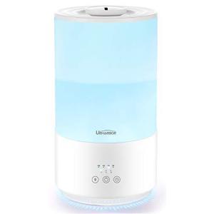 URHARBOR 加湿器 アロマ 卓上 超音波式 次亜塩素酸水対応 4L タイマー 60時間連続稼可 LEDランプ 七色変換  ホワイト 日本語説明書|aobashop