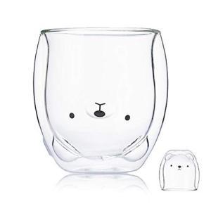 かわいいマグカップグラス二重壁断熱ガラスエスプレッソカップ、コーヒーカップ、ティーカップ、ミルクカップ、オフィスや個人の誕生日に最適なギフト (くま)|aobashop