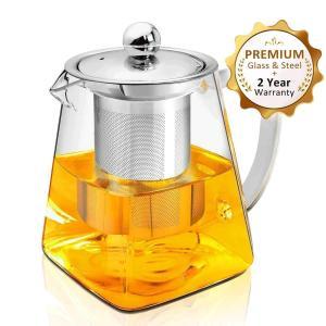 ティーポット 紅茶ポット 耐熱ガラス ガラスティーポット 304ステンレス鋼茶こし付き 750ml 急須 ガラス 緑茶ポット 直火用 ティーウォーマー|aobashop