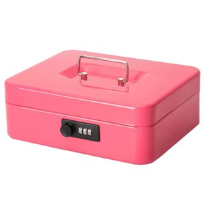 Jssmst(ジェスマット)手提金庫 ダイヤル式 金属製 25x20x9cm A5サイズ CB0701L (ピンク)|aobashop