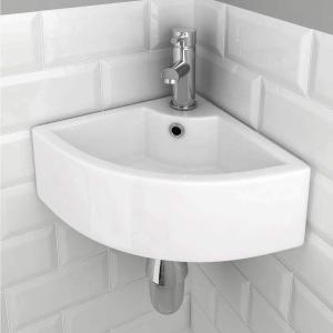 おしゃれ 洗面ボール 洗面ボウル 小型洗面ボウル  洗面台 洗面鉢 浴室洗面台 ミニ型 バルコニー 陶器製 シンプル 三角形 (460*325*130 aobashop