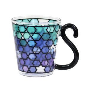 アルタ コローレ COLORE ブライトブルー H9.5×W11.5(飲み口Φ8.5) ステンドグラス調 耐熱グラス AR0604253|aobashop