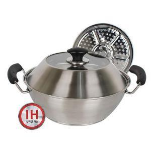 PN宮廷鍋 IH対応 セイロ 蒸し器&一般鍋 28cm ガラス鍋蓋付 ステンレス素材