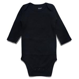 ロンパース Romperinbox ベビー ロンパース 赤ちゃん 肌着 長袖 ベビーボディスーツ 0〜24ヶ月設 無地 (3〜6ヶ月, ブラック) aobashop