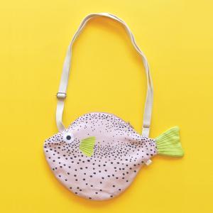 おさかなバッグ フグ DON FISHER ドンフィッシャー SMALL PUFFERFISH Pink お魚ポーチ 輸入雑貨 ピンク ブルー 送料200円 1万円以上送料無料|aodama-zakka