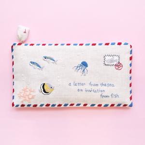 再入荷 ポーチ エアメール 海からの手紙 マスクケース チョウチンアンコウ サンゴ クラゲ ハンドメイド 手刺繍 ベトナム 送料200円 1万円以上送料無料|aodama-zakka