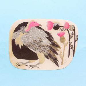 新商品 ポストカード ワシ 美しい色の鳥と美しい色の花 絵葉書 ミニポスター 送料200円 1万円以上送料無料|aodama-zakka