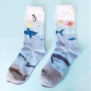 靴下 海洋生物学 フグ サメ ペンギン 22〜25cm GARAPAGO SOCKS 送料200円 1万円以上送料無料|aodama-zakka