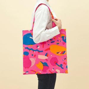 トートバッグ 花と鳥 ピンク 39×39cm aiueo 送料200円 1万円以上送料無料|aodama-zakka