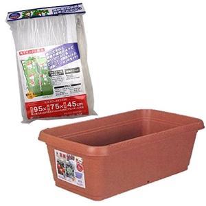 高儀 家庭菜園 支柱・ネット・プランターセット 角型プランター用 大 ブラウン