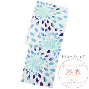 浴衣 レディース -119- 変わり織 綿100% フリーサイズ 白色地/ブルー 花柄