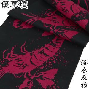 浴衣反物 レディース -20A- 女性用 綿紅梅 綿100% 藍白/花柄