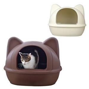 iCat アイキャット オリジナル 大きなネコ型トイレット スコップ付 マットアイボリー 猫 トイレ