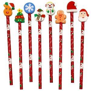 クリスマス けしごむ付えんぴつ 24入 景品 おもちゃ 子供会 お祭り くじ引き 縁日 お子様ランチ|aoigangu