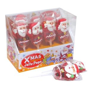 クリスマスゼリーポップサンタ 12入 駄菓子 子供会 景品 お祭り くじ引き 縁日|aoigangu
