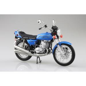 [予約特価2021年4月発送予定]KAWASAKI 750SS MACH IV (ヨーロッパ仕様) キャンディーブルー 1/12 完成品バイク #完成品|aoshima-bk