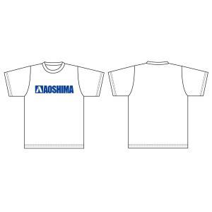 アオシマ Tシャツ (白) 青ロゴ Mサイズ #雑貨|aoshima-bk
