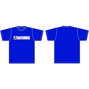 アオシマ Tシャツ (青) 白ロゴ Mサイズ #雑貨|aoshima-bk