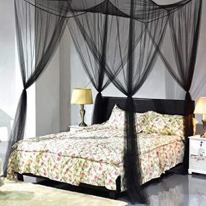 Golflame ベッドキャノピー 蚊帳 4角 ポスト 取り付け簡単 キング クイーンサイズ 化学薬...