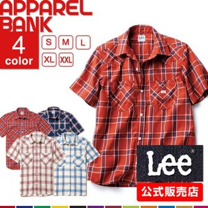 シャツ メンズ 半袖 作業シャツ Lee 半袖シャツ メンズ ウエスタンチェック チェックシャツ 半袖チェックシャツ 即日発送可|ap-b
