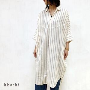 SALE 50%OFF カーキ kha:ki  スキッパー シャツ ドレス ワンピース MIL-20HOP87 (全2色) 2020春夏 新作|apakabar-style