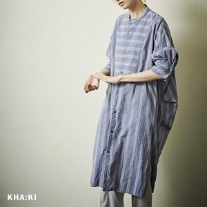 SALE 30%OFF カーキ KHA:KI レディース サイドタック 7分袖 シャツ ワンピース MIL-21HOP102 (全2色) 2021春 新作|apakabar-style