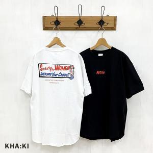 カーキ KHA:KI レディース ワイドスクエア オーバーサイズ プリント Tシャツ MIL-21HCS239A (全2色) 2021春夏 新作|apakabar-style