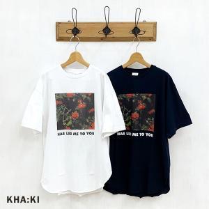 カーキ KHA:KI レディース ワイドスクエア オーバーサイズ プリント Tシャツ MIL-21HCS239B (全2色) 2021春夏 新作|apakabar-style
