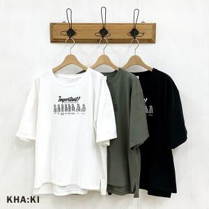 カーキ KHA:KI レディース ワイド ボックス シルエット Tシャツ 'INPORTANT' MIL-21SCS262 (全3色) 2021春夏 新作|apakabar-style