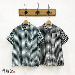 快晴堂 かいせいどう レディース  ゆらぎ ギンガムチェック Wide フレンチ 半袖シャツ 12S-20 (全2色) 2021春夏 新作 apakabar-style